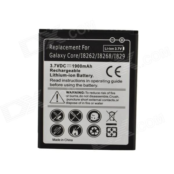 Replacement 3.7V 1900mAh Battery for Samsung Galaxy Core / I8262 / I8268 / I829 - Black + WhiteReplacement Batteries<br>BrandN/AMaterialLithium-ionForm ColorOthers,Black + whiteQuantity1 DX.PCM.Model.AttributeModel.UnitBattery TypeLi-ion batteryCompatible ModelsSamsung Galaxy Core / I8262 / I8268 / I829Nominal Capacity1900 DX.PCM.Model.AttributeModel.UnitBattery Measured Capacity 1200 DX.PCM.Model.AttributeModel.UnitCapacity Range1001mAh~2000mAhInput Voltage3.7 DX.PCM.Model.AttributeModel.UnitPacking List1 x Battery<br>