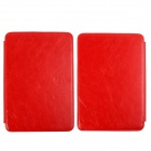 Stylish Protective PU Leather Case Cover w/ LED Reading Light for Amazon Kindle Touch - Red