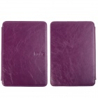 Stylish Protective PU Leather Case Cover w/ LED Reading Light for Amazon Kindle Touch - Purple