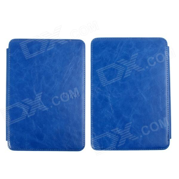 Stylish Protective PU Leather Case Cover w/ LED Reading Light for Amazon Kindle 4 / 5 - Deep Blue