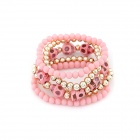 Fashionable Skull Head and Beads Multilayer Elastic Women's Bracelet - Pink + Golden