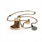 Women's Fashionable Leopard Boot Pattern Double Chain Sweater Necklace - Multicolored