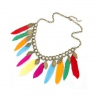 Women's Fashionable Feather Tassels Necklace - Multicolored