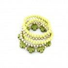 Crosses and Beads Multilayer Elastic Bracelet - Green + Deep Green