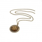 Women' s Leopard Pattern Round Sweater Necklace - Brown