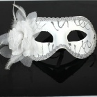 Party Glitter Feather Flower Mask - White