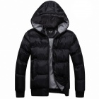 Men's Synthetic Fiber Blended Fabric Warm Zippered Jacket Coat - Black (XL)