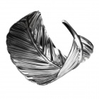 eQute BPEW11C1 Alloy Metal Arched Leaf Bracelet Bangle - Silver