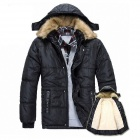 Fashion Warm Thicken Cotton-Padded Clothes Coat - Black (Size L)