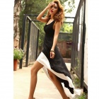 Women Sexy Deep U Neck Backless Swallow Tail Sleeveless Long Dress - Black + White