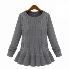 Retro Style Round Neck Pullover Sweater Skirt - Grey (L)