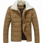 Men's Lamb's Wool Turn Down Collar Thicken Zippered Coat - Beige (L)