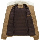 Men's Lamb's Wool Turn Down Collar Thicken Zippered Coat - Beige + White (L)