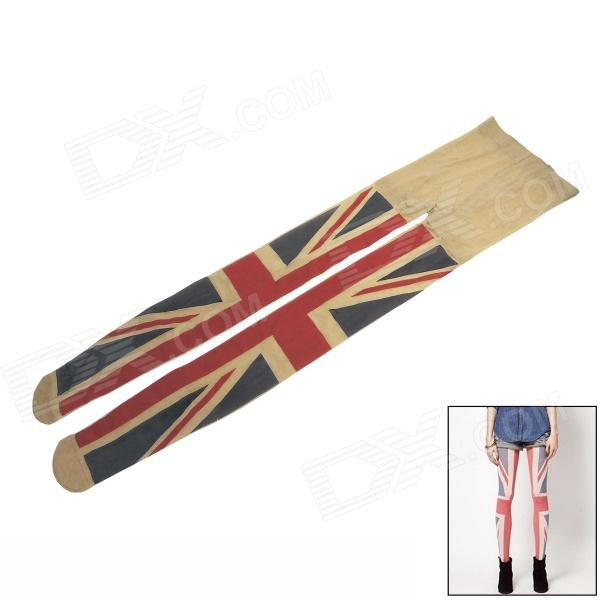 Women' s Fashion UK Flag Pattern Velvet Leggings - Beige + Blue + Red wolford velvet 66 leggings