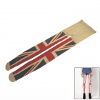 Women' s Fashion UK Flag Pattern Velvet Leggings - Beige + Blue + Red