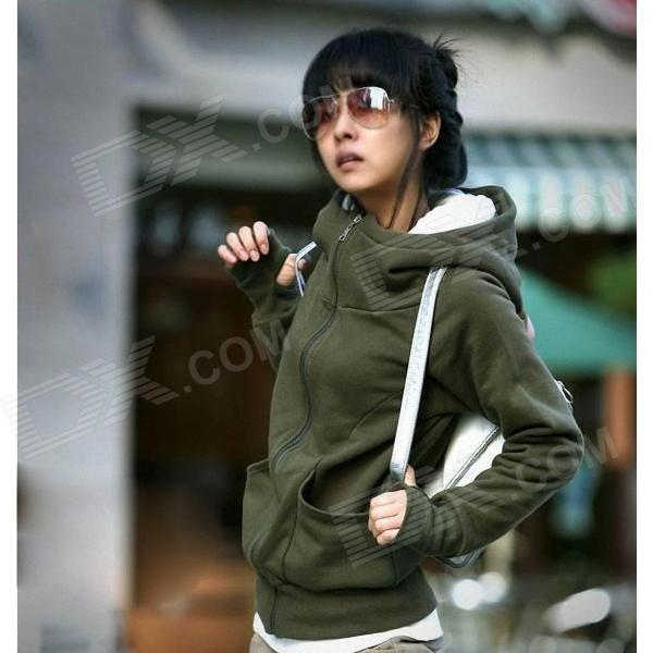 Thicken Cotton Blended Hoodie Sweater - Green