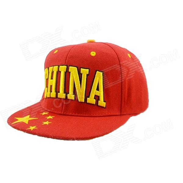 DG0302 Chinese Flag Pattern Hip Hop Hat - Red