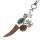 Fashionable Women's Sweater Necklace - Bronze + Green + White + Brown