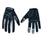 Outdoor Sports Cycling Full-Finger Spandex Gloves - Black + White (Pair / Size-L)
