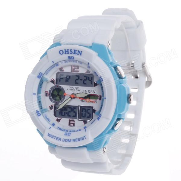 OHSEN AD1136 Men's Sport Analog + Digital Quartz Wrist Watch - White+Light Blue (1 x CR-2025)