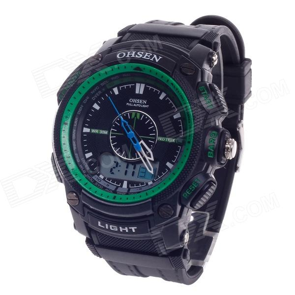 OHSEN AD1209 Men's Sport Analog + Digital Quartz Wrist Watch - Black + Green (1 x CR-2025)
