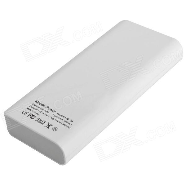 Richino RD-168 Rechargeable 10800mAh Dual-USB Emergency Mobile Power Source Charger - White
