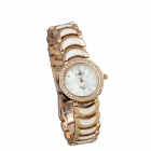 Women's Round Dial Zinc Alloy Business Quartz Watch - White + Golden (1 x 377)
