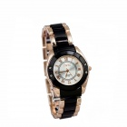 Women's Business Zinc Alloy Quartz Wrist Watch - Black + Golden (1 x 377)