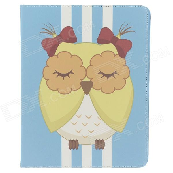 Stylish Owl Pattern Protective PU Leather Case Cover Stand for Ipad 2 / 3 / 4 - Blue + White+ Yellow