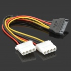 10625 SATA 15-Pin Male to 2 x IDE 4-Pin Female Adapter Cable - White (20cm)