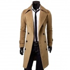 Men's Double-Breasted Woolen Long Wind Jacket - Beige (Size-L)