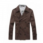 7045 Men's Slim Double-Breasted Cotton Blend Jacket - Brown (Size-L)