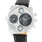 OULM HP9316 Fashion Men's Dual Time Display Quartz Watch - Black + Silver + Brown