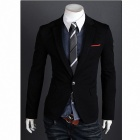 Monseden 9011 Men's One-button Fastenings Suit Jacket - Black (XL)