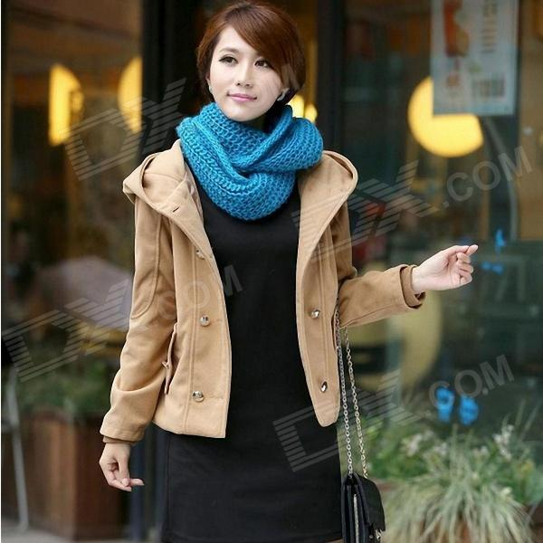 Women's Short Double-breasted Woolen Coat - Beige (L)