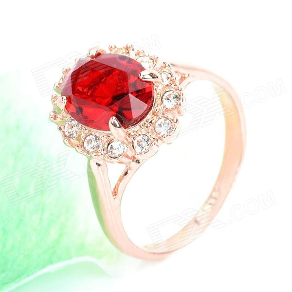 KCCHSTAR 18K Gold Plating Crystal Ring - Golden+Red (US Size-8) kcchstar gold plating ring golden us size 8