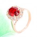 KCCHSTAR 18K Gold Plating Crystal Ring - Golden+Red (US Size-8)