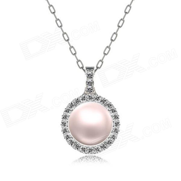 eQute POTW145C4 Elegant Conch Pearl Shiny Pendant Necklace - Pink elegant solid color faux pearl pendant necklace for women