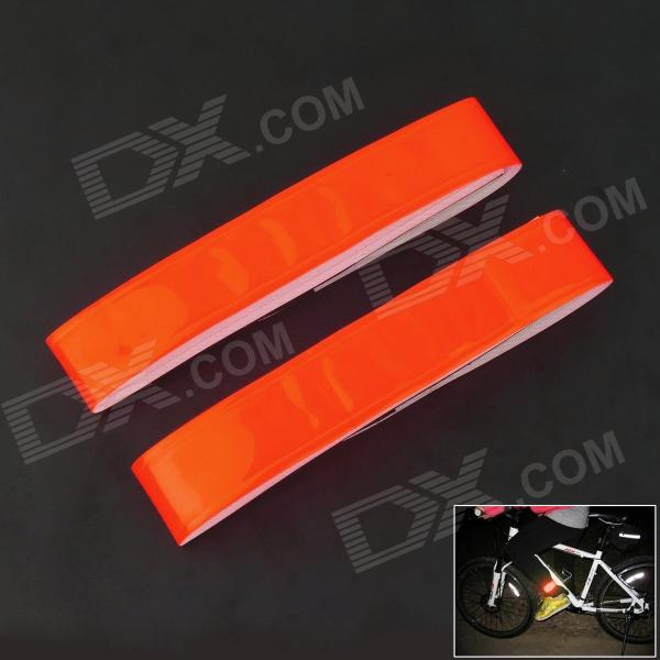 Velcro Light Reflection Arm Band for Night Cycling - Red (2 Pieces/Set)