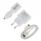 EASYWAY 1105TC-U 3-in-1 USB EU Plug AC Power Charger Adapter + Car Charger + USB Cable - White