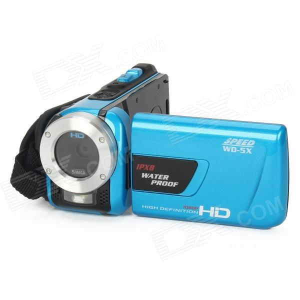 WD-5X 3.0 TFT LCD Max. 16.0 MP CMOS 8X Digital Zoom Waterproof Video Camcorder - Blue 5 0mp digital video camcorder w 4x digital zoom motion detection hdmi sd slot 2 5 tft lcd