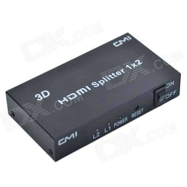 CMI 1-to-2 Full HD 1080P w/ Deep Color & HD Audio 3D HDMI Splitter - Black (1-In- 2-Out)