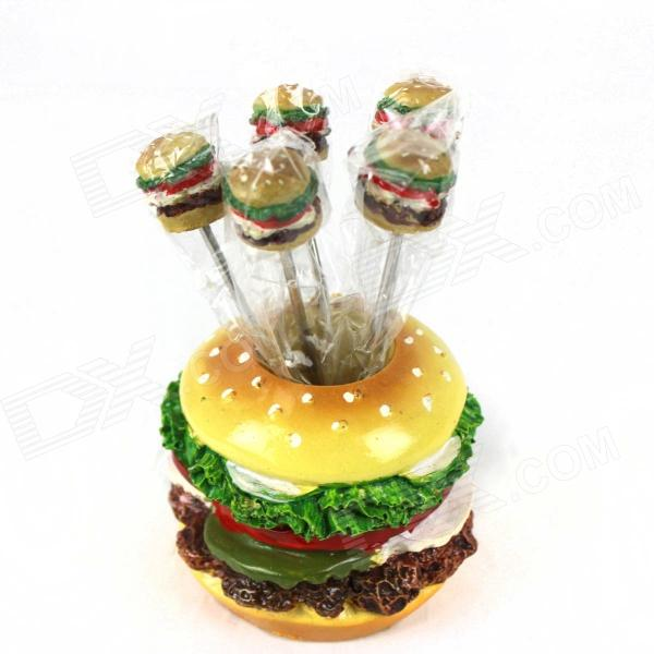 Beef Burger Style Stainless Steel Fork - Green + Yellow (5 PCS)