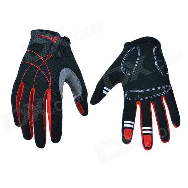 Outdoor Sports Cycling Full-Finger Spandex Gloves - Black + Red (Pair / Size-XL) good hand full fingers cycling gloves black red pair size xl