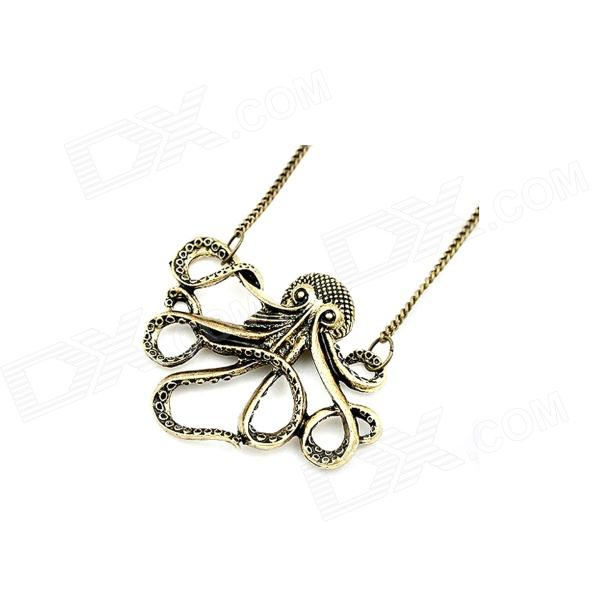 Vintage Octopus Style Sweater Necklace - Bronze