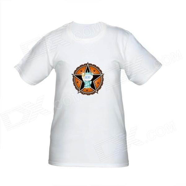Statue of DXman Cotton Short Sleeves T-Shirt for Women - White