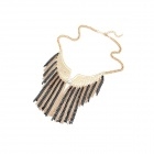 Fashion Wing Tassels Short Necklace - Golden + Black