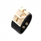 Metallic Rivets Punk Style Leather Wide Bracelet - Black + Golden