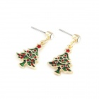 Christmas Tree Style Earrings - Green + Red + Golden