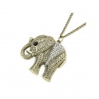 Vintage Elephant Pattern Long Sweater Necklace - Bronze + White